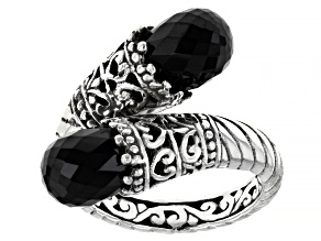 Black Spinel Sterling Silver Bypass Ring 4.93ctw