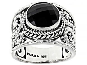 Round Black Spinel Sterling Silver Ring 2.76ct