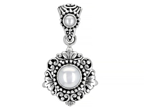 White Cultured Fresh Water Pearl Sterling Silver Dangle Pendant 4-8mm