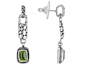 Green Peridot Sterling Silver Earrings 0.86ctw