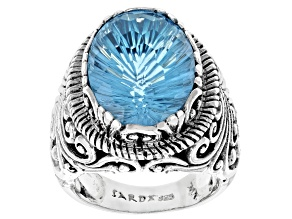 Blue Topaz Sterling Silver Ring 13.60ctw