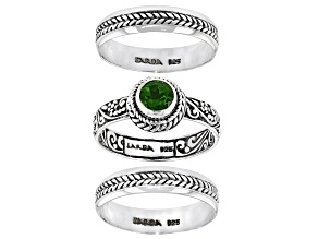 Green Chrome Diopside Sterling Silver Stack able Set of 3 Rings 0.48ct