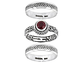 Red Ruby Sterling Silver Stack able Set of 3 Rings 0.60ct