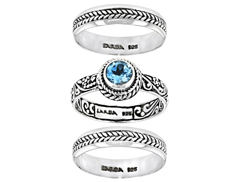 Swiss Blue Topaz  Sterling Silver Stackable Set of 3 Rings