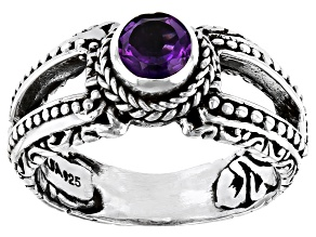 Purple Amethyst Sterling Silver Ring 0.43ct