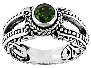 Green Russian Chrome Diopside Sterling Silver Ring 0.48ct