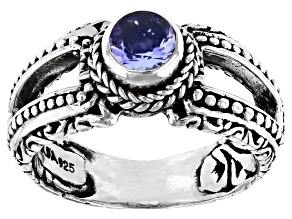Blue Tanzanite Sterling Silver Ring 0.47ct