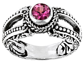 Pink Tourmaline Sterling Silver Ring 0.21ct