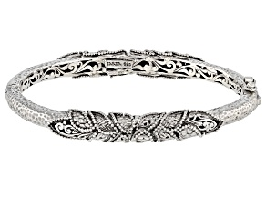 "Sterling Silver ""Leaf Round"" Bangle Bracelet"
