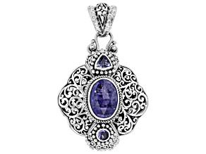 Blue Tanzanite Sterling Silver Pendant 5.30ctw