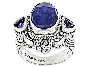 Blue Tanzanite Sterling Silver Ring 4.97ctw