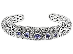 Blue Tanzanite Sterling Silver Cuff Bracelet 1.84ctw