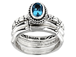 Parabia Color Apatite Silver Stackable Set of 3 Rings .77ct