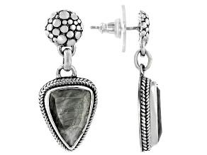 Gray Cats Eye Quartz Sterling Silver Earrings