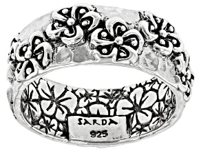 Sterling Silver Frangipani Band Ring