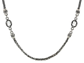White Topaz Sterling Silver Spiga Necklace 3.00ctw