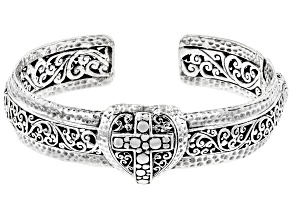 "Sterling Silver ""Riches"" Cross Cuff Bracelet"