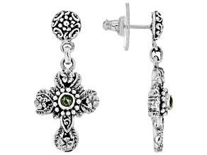 Moldavite Sterling Silver Cross Dangle Earrings 0.28ctw
