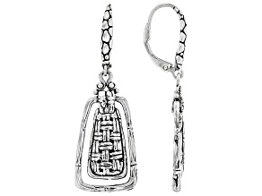 "Sterling Silver ""Outweighs Them All"" Basket Weave Design Earrings"