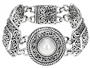 Cultured White Mabe Pearl Sterling Silver Bracelet