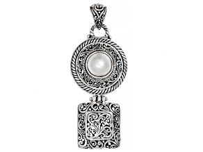 Cultured White Mabe Pearl Sterling Silver  Pendant
