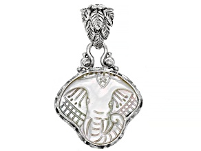 Carved White Mother Of Pearl Elephant Sterling Silver Pendant
