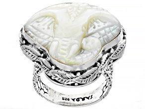 Carved White Mother Of Pearl Elephant Sterling Silver Solitaire Ring