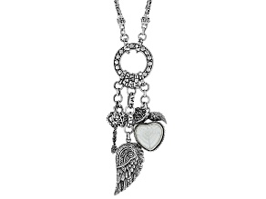 White Mother Of Pearl Heart Sterling Silver Charm Necklace