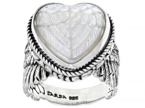 White Mother Of Pearl Heart Sterling Silver Angel Wing Ring
