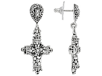 "Picture of White Zircon Sterling Silver ""Flawless Glory"" Cross Dangle Earrings"