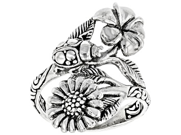 """Picture of Sterling Silver """"Good Luck"""" Ladybug And Flower Bypass Ring"""