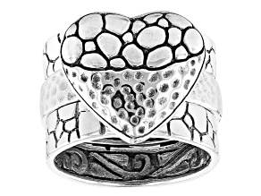 "Sterling Silver ""Treasure Box"" Heart Band Ring"