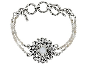White Moonstone Bead Silver Bracelet