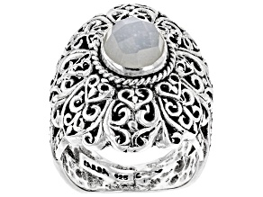 White Moonstone Silver Solitaire Ring