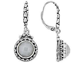 White Moonstone Sterling Silver Dangle Earrings