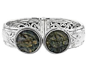 Carved Labradorite Dragon Doublet Sterling Silver Bracelet