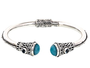 Blue Amazonite Sterling Silver Bracelet .40ctw