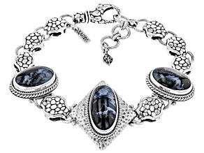 Pietersite Cabochon Sterling Silver Bracelet