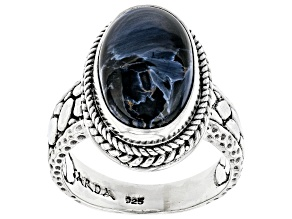 Pietersite Cabochon Sterling Silver Solitaire Ring