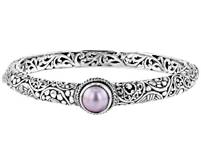 10mm Round Pink Mabe Pearl Sterling Silver Bangle Bracelet