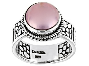 Pink Mabe Pearl Sterling Silver Solitaire Ring