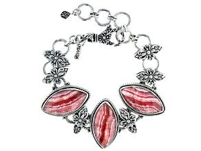Marquise Rhodochrosite Sterling Silver Tennis Bracelet