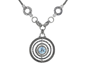Blue Topaz Sterling Silver Revolving Necklace 7.27ctw