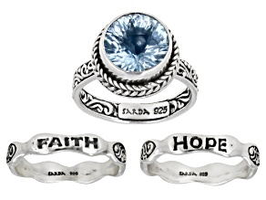 Blue Topaz Silver Inspirational Ring Set Of Three 4.51ctw