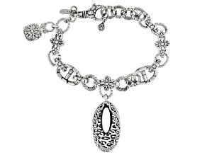 Mosaic Mother Of Pearl Cheetah Print Design Sterling Silver Bracelet