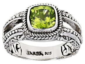Square Cushion Peridot Sterling Silver Solitaire Ring 1.42ctw