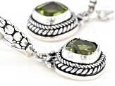 Square Cushion Peridot Sterling Silver Dangle Earrings 2.84ctw