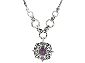 Ruby Cabochon Sterling Silver Fleur De Lis Necklace