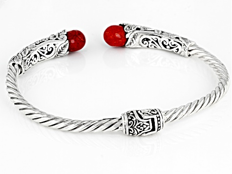 Red Coral Sterling Silver Butterfly Bracelet