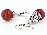 Red Coral Sterling Silver Butterfly Earrings